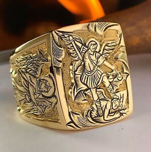 Europe And America Men's Fashion 18K Gold Ring Punk Party Jewelry Gift Size 6-13