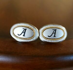 Vintage MONOGRAM A CUFFLINKS, Satin Silver Ovals & Yellow Gold Rope, By SWANK