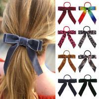 Girl Elastic Velvet Ribbon Bow Hair Tie Rope Women Hair Band Scrunchie Ponytail