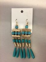 H&M Fashion Gold Turquoise Beads Dangle Earrings Gold Tone NWT Unique Style