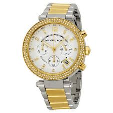 New Michael Kors Parker Two Tone Gold Silver Chronograph Women's Watch MK5626