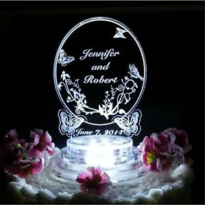 Butterfly Oval Lighted Wedding Cake Topper Acrylic Top Personalized Custom LED