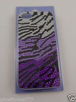 For Iphone 5 i phone case back cover purple clear crystals Zebra print