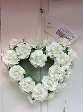 Shabby Chic Small Ivory Paper Rose Hanging Heart Garland Decoration Wedding Xmas