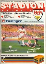 ORIG. prg UEFA Cup 88/89 vfb stuttgart-dinamo dresde 1/2 Finale!!! Top