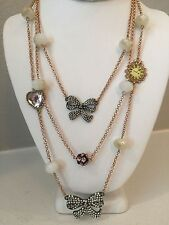 NWT Rare Betsey Johnson rose gold multi chain bows heart clock jeweled Necklace