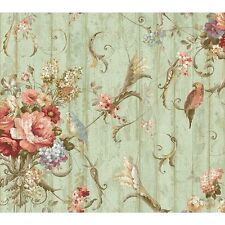 York Wallcoverings HA1326 Blue Book Parrots with Floral Bouquets Wallpaper