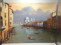 Oil Painting Venice Grand Canal Gondola Canvas Board Impressionism Italy Europe
