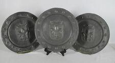 Vintage 3 French Pewter Crowned Fleur de Lis Shield Studded Plates/Platters yqz