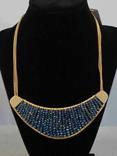 Kenneth Cole New York Goldtone WOVEN BLUE Faceted Bead Collar Necklace $85