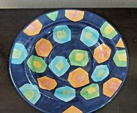 Made in Turkey Large Art Deco Multi Color Salad/Pasta Serving Bowl Geometric