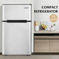 Mini Compact Refrigerator Stainless Steel Double Door Freezer Fridge 3.2 Cu.Ft