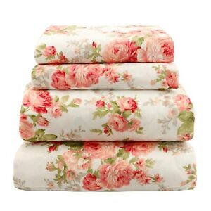 Beautiful Soft Breathable 4 pcs Bedding Sheet Set Pink & Peach Floral