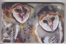 AMERIQUE  TELECARTE / PHONECARD .. BRESIL 40R OISEAU BIRD HIBOU OWL MAGNETIQUE