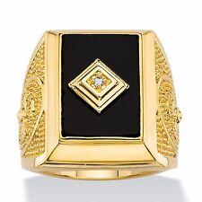 14K GOLD BLACK ONYX EMERALD CUT CROSS MENS GP RING SIZE 8 9 10 11 12 13
