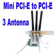Mini PCI-E to PCI-E Express X1 Wireless WIFI adapter card with 3 Antennas New DG