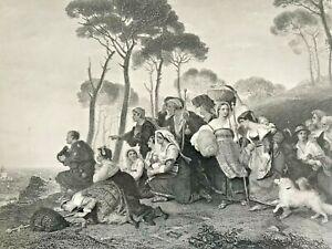 19th C Engraving 'PILGRIMS IN SIGHT OF ROME' ARTIST: SIR CHARLES EASTLAKE. ITALY