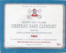 GRAVES GCC VIEILLE ETIQUETTE CHATEAU PAPE CLEMENT 1982 75 CL  RARE §19/08/17§