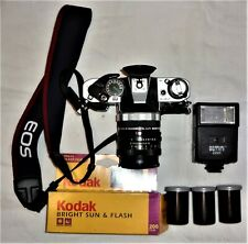 Working Canon AE-1 Program with Flash, Converter, Strap, & 3 Rolls of Film