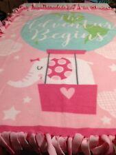 "FLEECE KNOTTED BLANKET - Baby/Toddler Blanket Pink Adventure - 48"" x 60"""