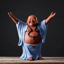 Chinese Creative Pottery Figurine Statues Blue Maitreya Buddha Ceramic Porcelain