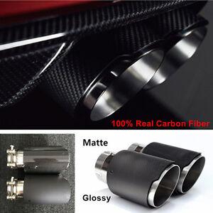 1xGlossy/Matte 100% Carbon Fiber Auto Car MODIFIDE MUFFLER Pipe Exhaust Tip 63MM