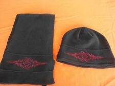 NEW Womens Harley Davidson Black with Red Shield Matching Knit Cap Hat & Scarf