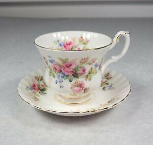 Royal Albert Moss Rose Floral Fine Bone China England Cup And Saucer NICE