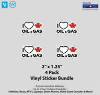 """4- Pack 2"""" x 1.25"""" I Love Canadian Gas & Oil Vinyl Stickers"""