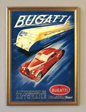 Bugatti Auto Lokomotiv Zug Motoren Plakat von 1938 Faksimile 33 im Goldrahmen
