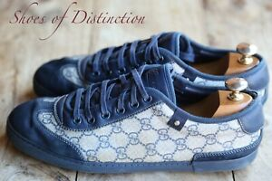 Men's Gucci Monogram Blue Suede Shoes Trainers Sneakers UK 7 US 8