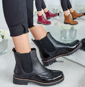 LADIES WOMENS ANKLE BROGUE CHELSEA FASHION PATENT CASUAL SHOES BOOTS SIZE 3-8 UK