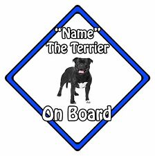 Personalised Dog On Board Car Safety Sign - Bull Terrier On Board Blue