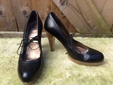 BERTIE LADIES BLACK LEATHER MARY JANE WOOD LOOK HEEL/PLATFORM SHOES 👠 3UK/36EUR