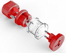 3 en 1 Rojo Universal Power Adaptador De Enchufe de Viaje Mundo AU/UK/U.S./UE CONVERTIDOR