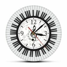 Musical Notes Black and White Wall Clock Studio Decor Piano Keyboard Pianist Art