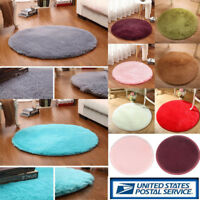 Round Fluffy Rug Anti-Skid Shaggy Dining Room Bedroom Carpet Floor Comfortable