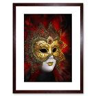 Photo Venetian Mask Carnival Gold Red Ornate Design Framed Wall Art Print