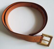 """Pierre Cardin Mens Brown Leather Belt Size 34  Brass Buckle Spain 1 1/4"""" Wide"""