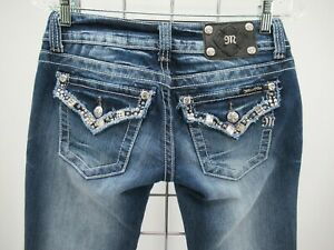 P1933 Miss Me Women's Crystal Pockets Denim Skinny Capri Size 27