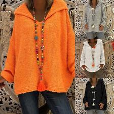 Women's Long Sleeve Sweater Casual Palin Hoodies Knit Jumper Pullover Tops zq00