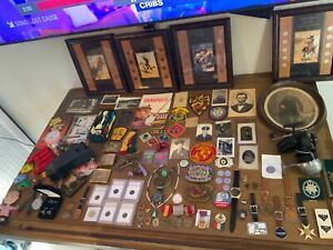 HUGE RARE ESTATE VINTAGE JUNK DRAWER LOT MILITARY SILVER COINS TOYS WATCHES