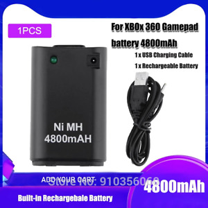 1PCS 4800mah Rechargeable Batteries + USB Charging Charger Cable For Xbox 360