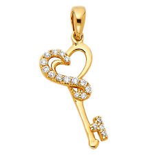 14k Solid Yellow Gold Heart Key Ladies Pendant Charm 0.9 grams 19x10 mm