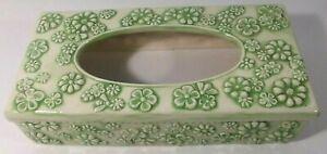 Vintage Tissue Box Ceramic Cover Green