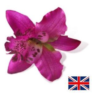 Purple Orchid Flower Hair Clip Slide Grip Vintage Pinup Rockabilly Hawaiian
