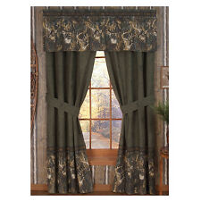"Browning Whitetails Lined Curtains / Drapes w/valance Camouflage 42"" x 84"" Deer"