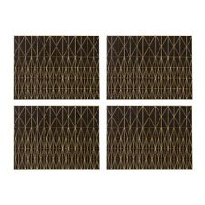 Premier Housewares Geome Prism Leather Effect Placemat Black and Gold