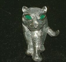 SILVER PANTHER BROOCH pin  EMERALD  GREEN EYES
