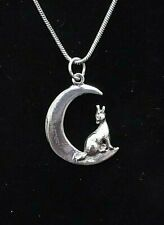 """Vintage Sterling Silver Moon Wolf Pendant on 18"""" Chain"""